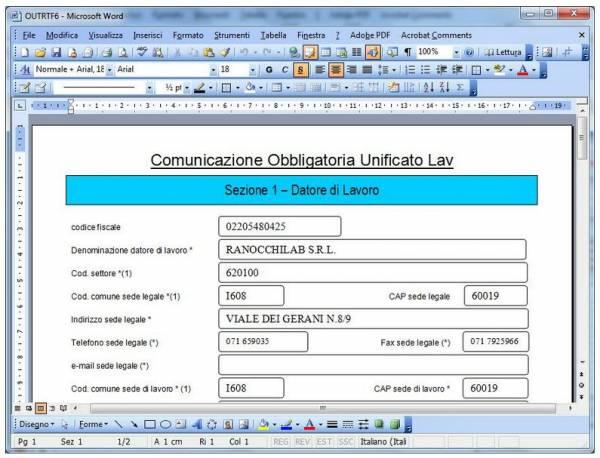 Formulario e Collocamento - software Ranocchi Paghe GIS