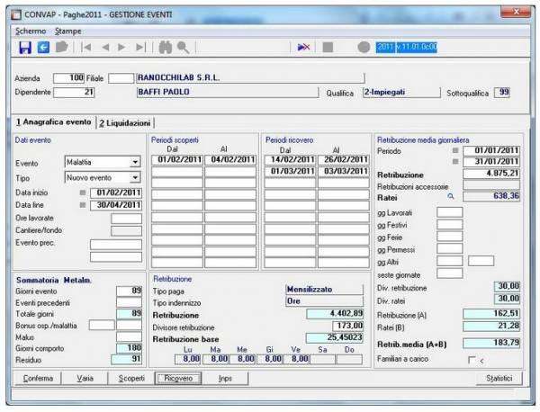 Gestione Eventi e Adempimenti - software ranocchi Paghe Gis